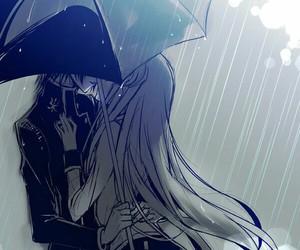 anime, rain, and kiss image