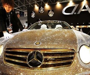 car, mercedes, and gold image