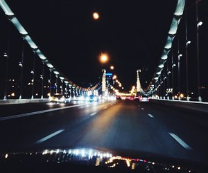 night, road, and bridge image