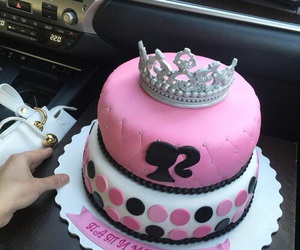 cake, pink, and barbie image