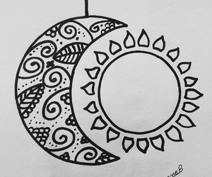 drawings, sun, and moon image