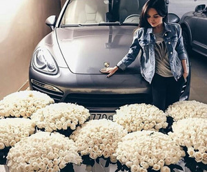 girl, car, and flowers image