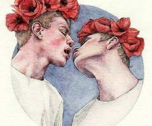 flowers, gay, and kiss image
