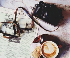 coffee, camera, and morning image