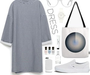 minimal, white sneakers, and long sleeve dress image