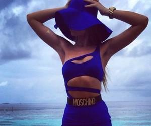 beach, summer wear, and blue image