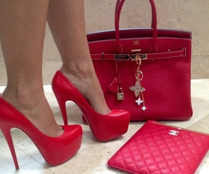 red, shoes, and bag image