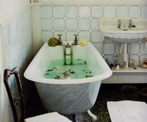 bathtub and flowers image