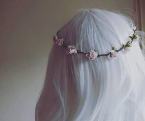 autumn, hair, and flowers image