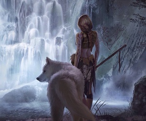 fantasy, wolf, and warrior image