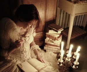 book, candle, and vintage image