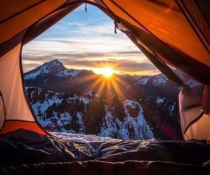 mountains, sun, and camping image