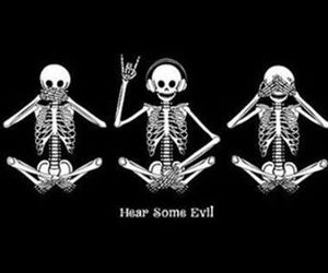 music, skeleton, and evil image