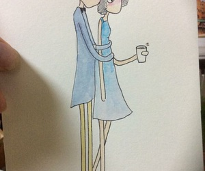 blue, cartoon, and coffee image