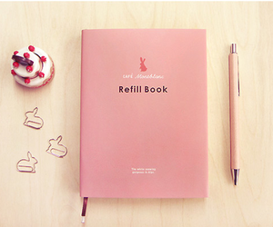 cute, book, and pink image