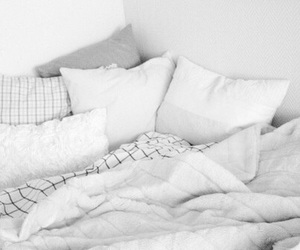 white, bed, and pillow image