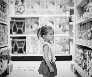 black and white, dolls, and shopping image