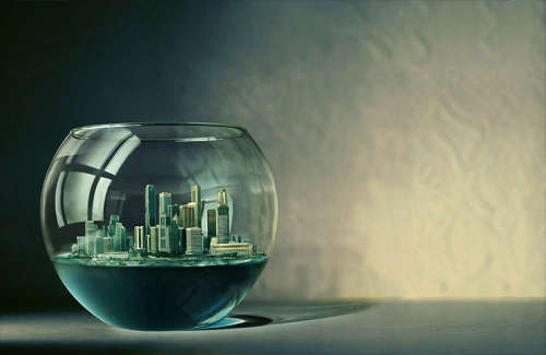 city, fishbowl, and water image