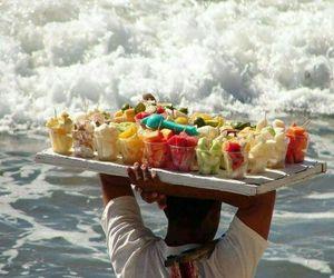 fruit, beach, and ocean image