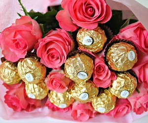 rose, flowers, and chocolate image