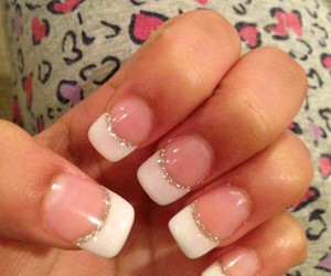 glitter, nails, and french manicure image