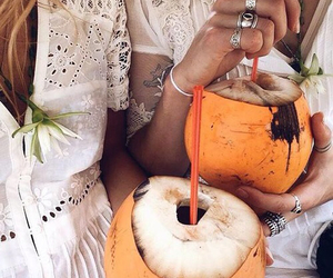 summer, coconut, and drink image