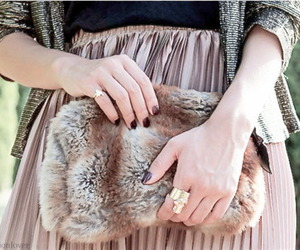 beige, fur, and clutch image