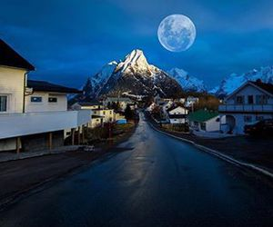 moon, mountain, and nature image
