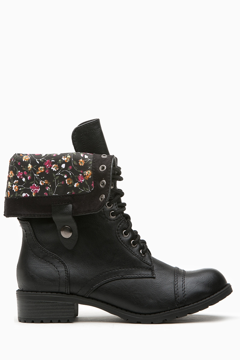 056b90393bc7b Black Faux Leather Flower Print Combat Boots @ Cicihot Boots Catalog ...