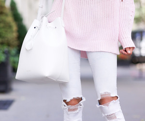 pink jumper, white jeans, and pink sweater image