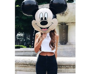 girl, disney, and mickey mouse image