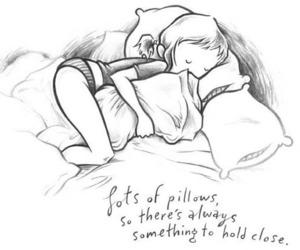 pillow, sleep, and drawing image