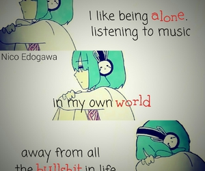 music, anime quotes, and alone image
