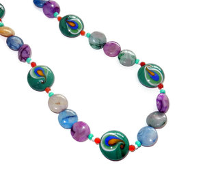 peacocknecklace and colorful peacock necklace image