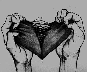 black and white, sketch, and broken heart image