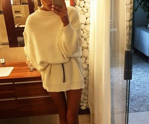 girl, street style, and sweater dress image