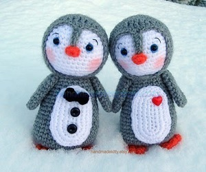 penguin, couple, and winter image
