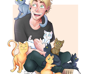 5sos, michael clifford, and kitten image