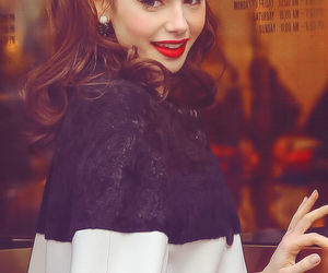 lily collins and red lips image