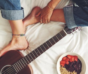 breakfast, girl, and guitar image