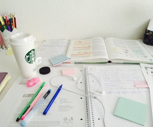 school, starbucks, and studying image
