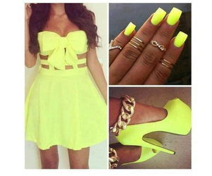 dress, nails, and yellow image