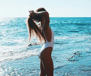 beach, girl, and water image