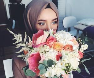 flowers, hijab, and muslim image