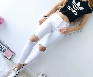 addidas, black and white, and jeans image