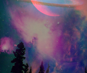 galaxy, moon, and wallpaper image