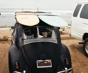 beach, surfboards, and car image