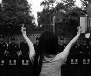 b&w, fuck you, and fuck the police image