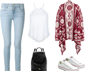cardigan, converse, and jeans image