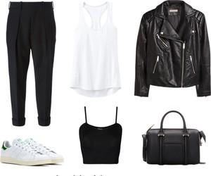 adidas, fashion, and leather jacket image